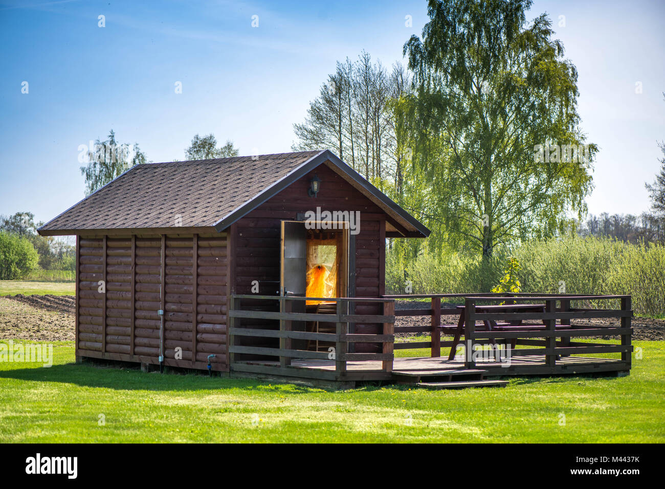 Picnic Table On A Wooden Terrace In Garden In Early Morning A Small Stock Photo Alamy