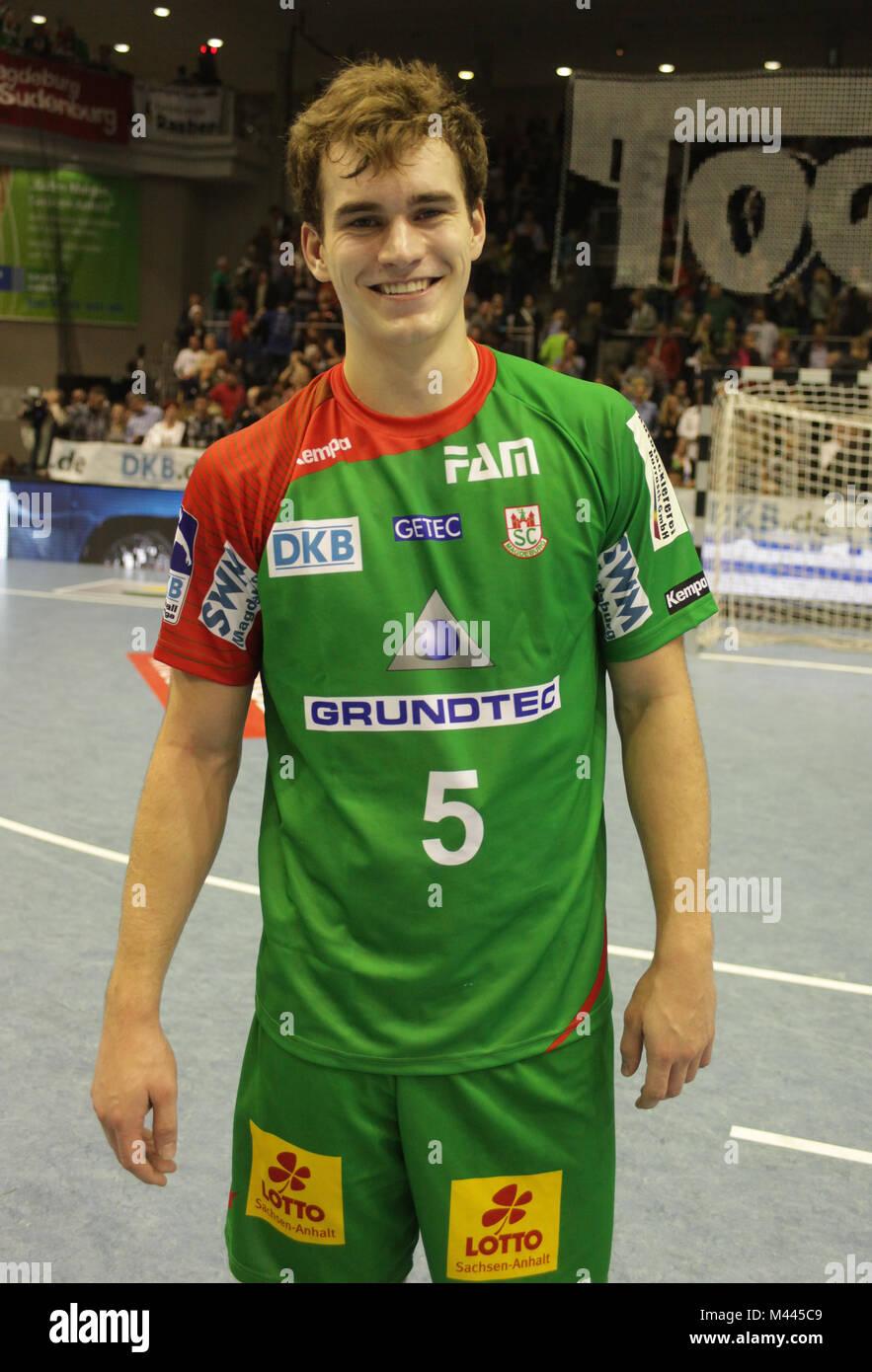 deutscher Handballspieler Maximillian Janke -Saison 2013/14 SC Magdeburg - Stock Image