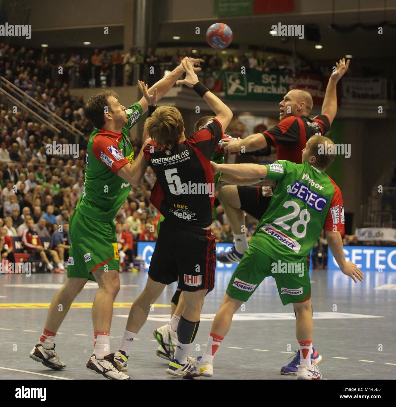 DKB Handball-Bundesliga 2013-2014, 11. Spieltag, SC Magdeburg-TUS N-Lübbecke - Stock Image