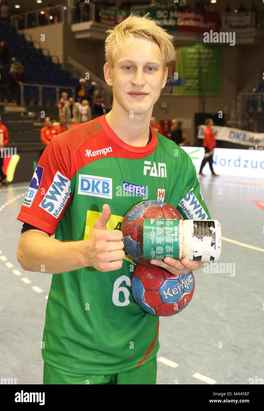 deutscher Handballer Matthias Musche (SC Magdeburg) Handball-Bundesliga-Saison 2013/14 - Stock Image