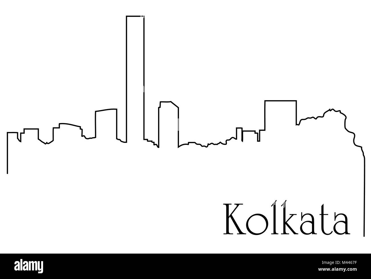 Kolkata city one line drawing abstract background with  metropolis cityscape - Stock Vector