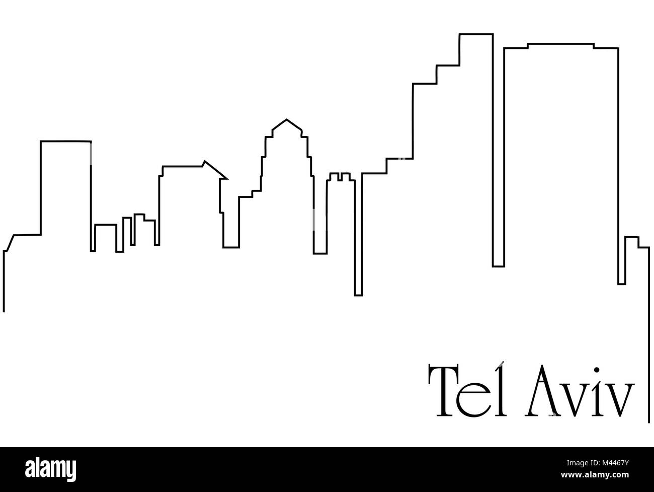 Tel Aviv city one line drawing abstract background with  metropolis cityscape - Stock Image