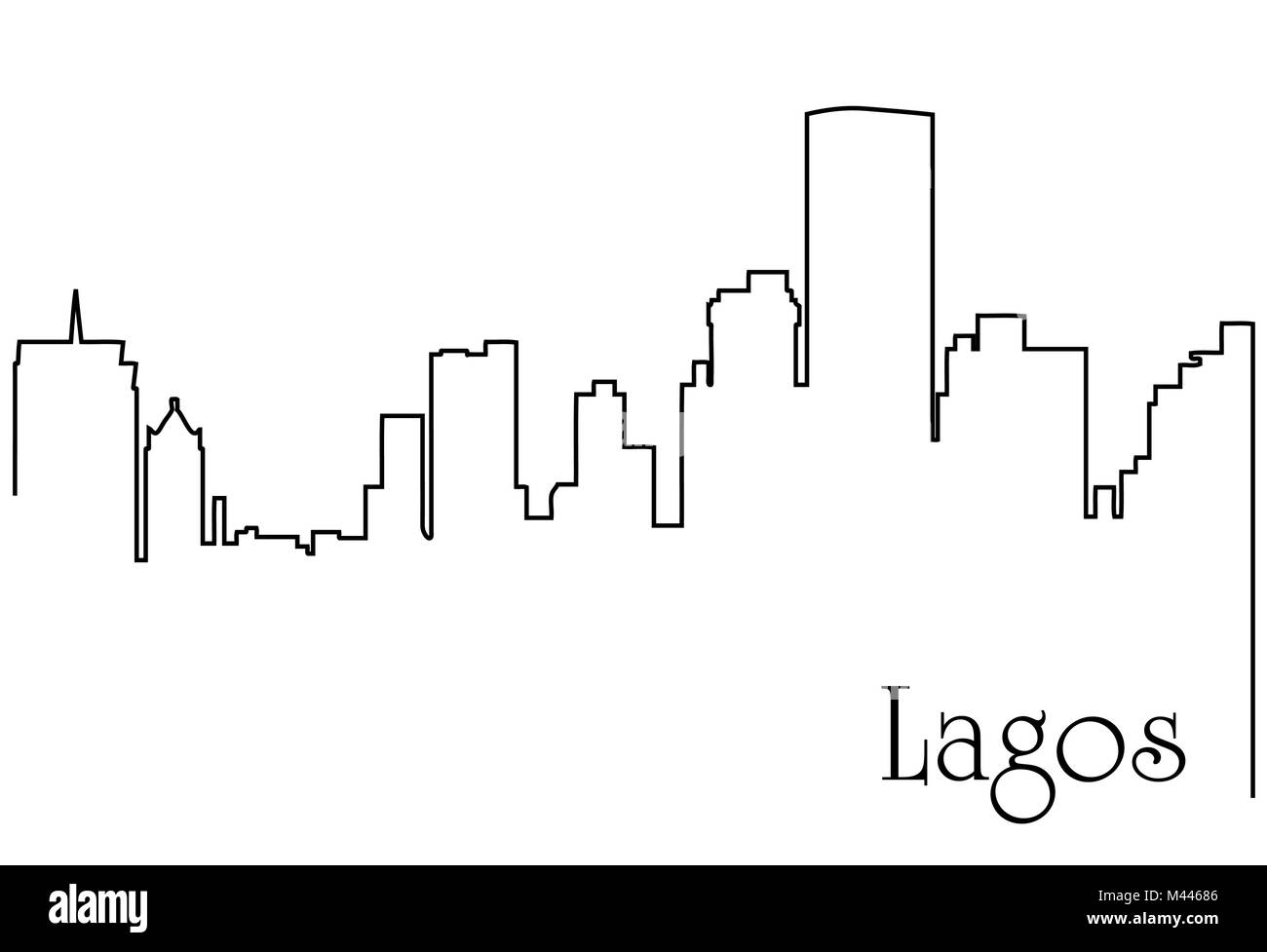 Lagos city one line drawing abstract background with  metropolis cityscape - Stock Image