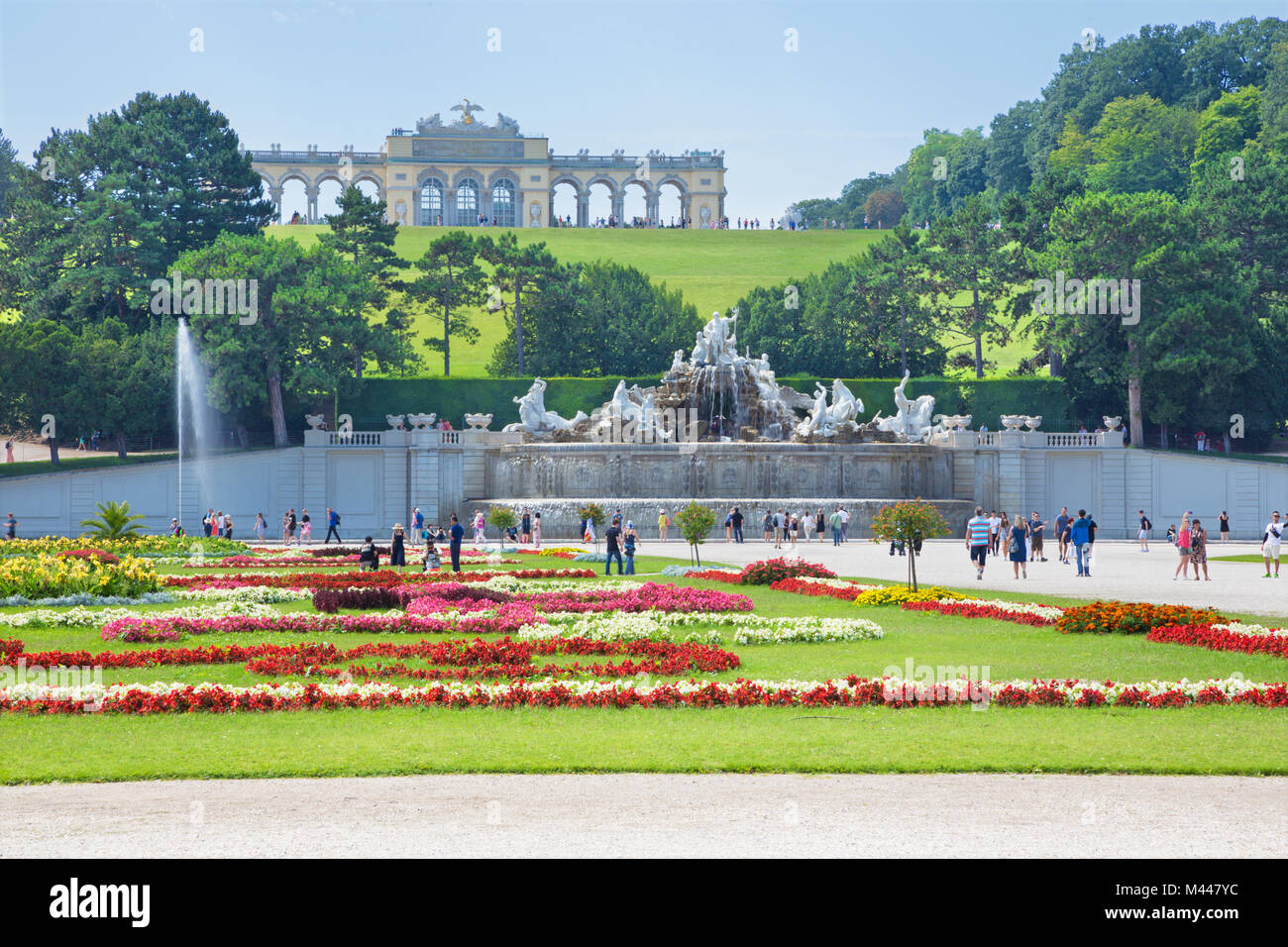 VIENNA, AUSTRIA - JULY 30, 2014: The castle Schonbrunn - Gloriette and garden and Neptune fountain. - Stock Image