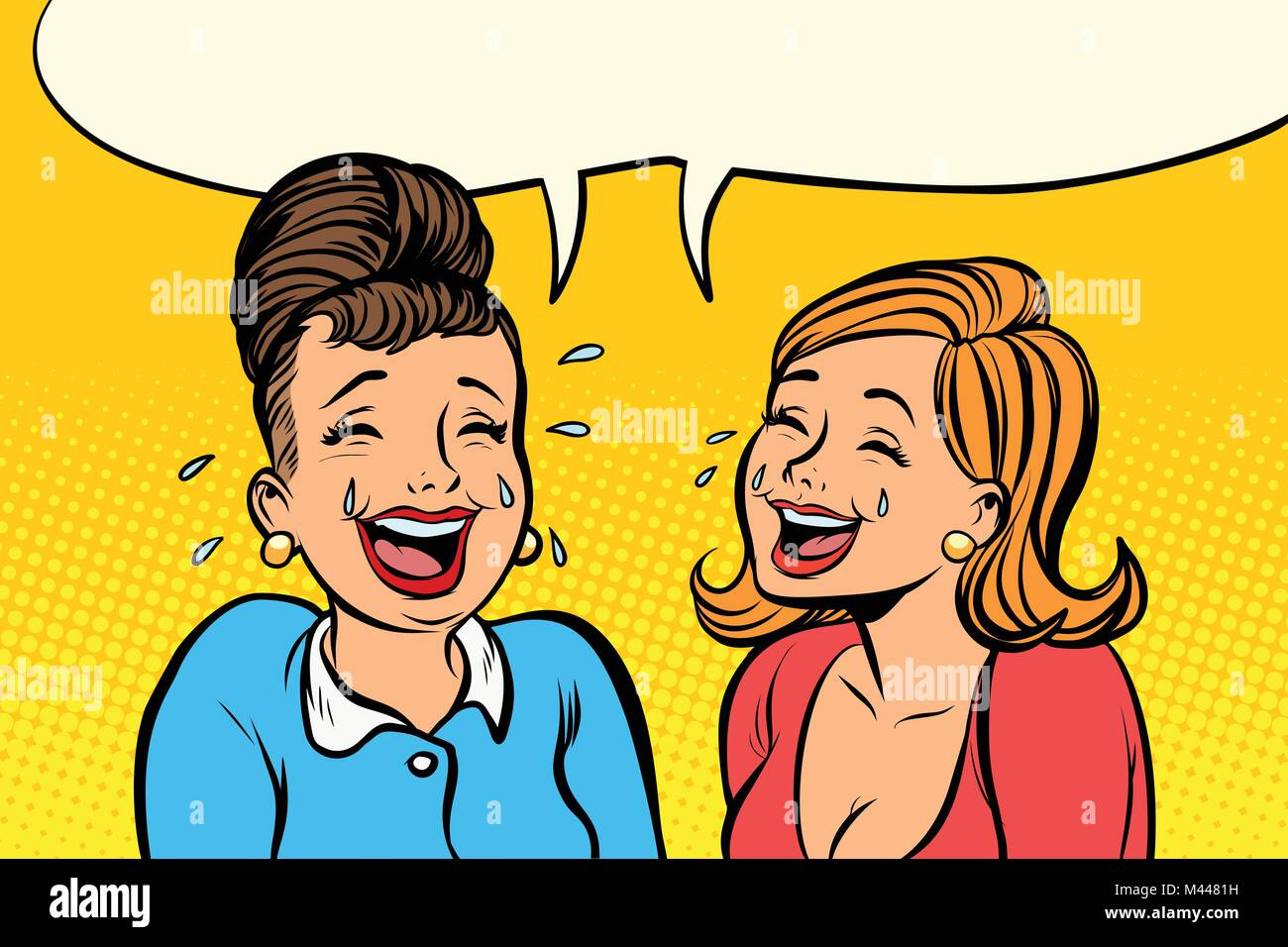 Joyful girlfriends women laugh - Stock Image