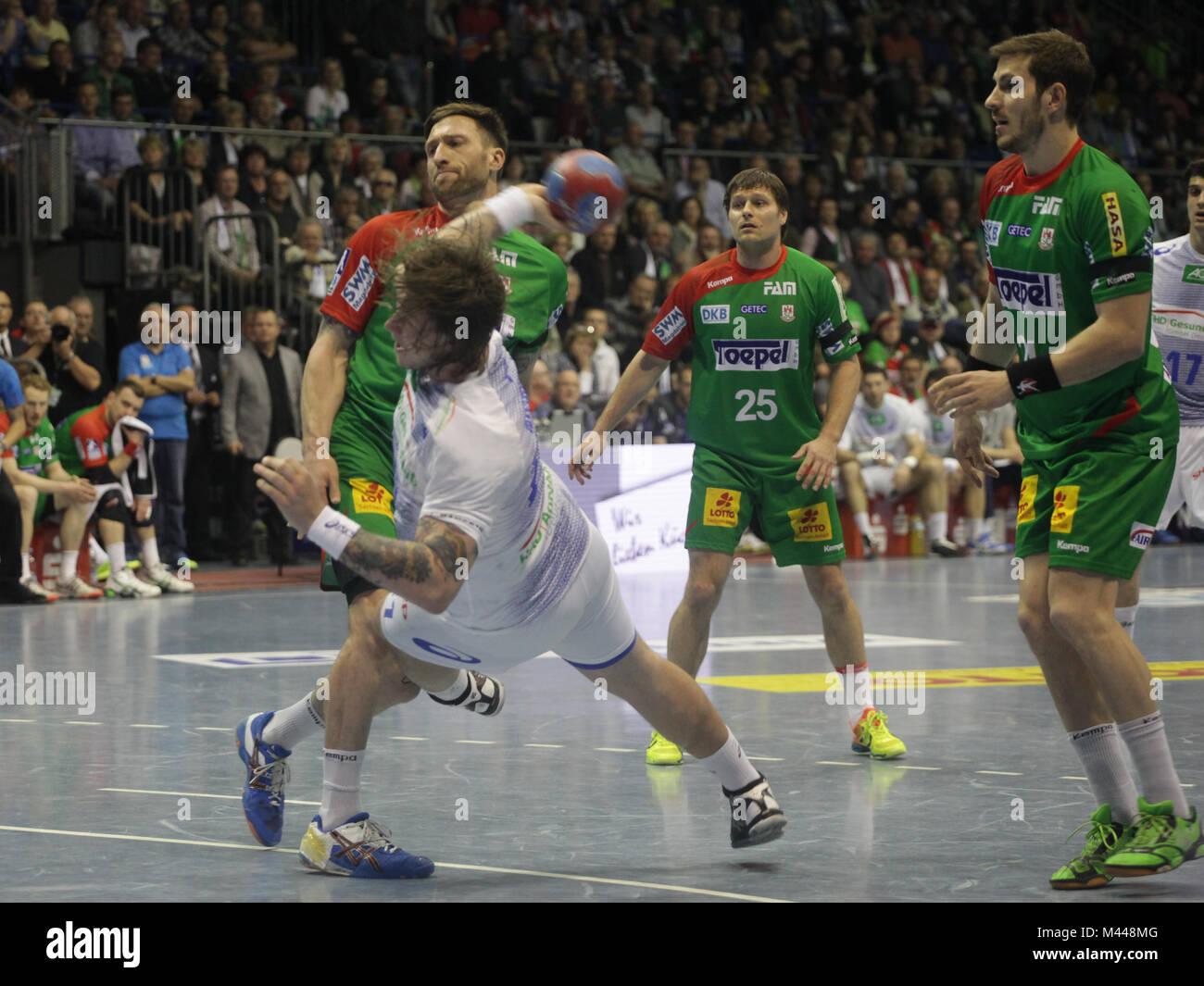 DKB Handball-Bundesliga 2013/14 29.Spieltag,SC Magdeburg-HSV Handball in Magdeburg - Stock Image