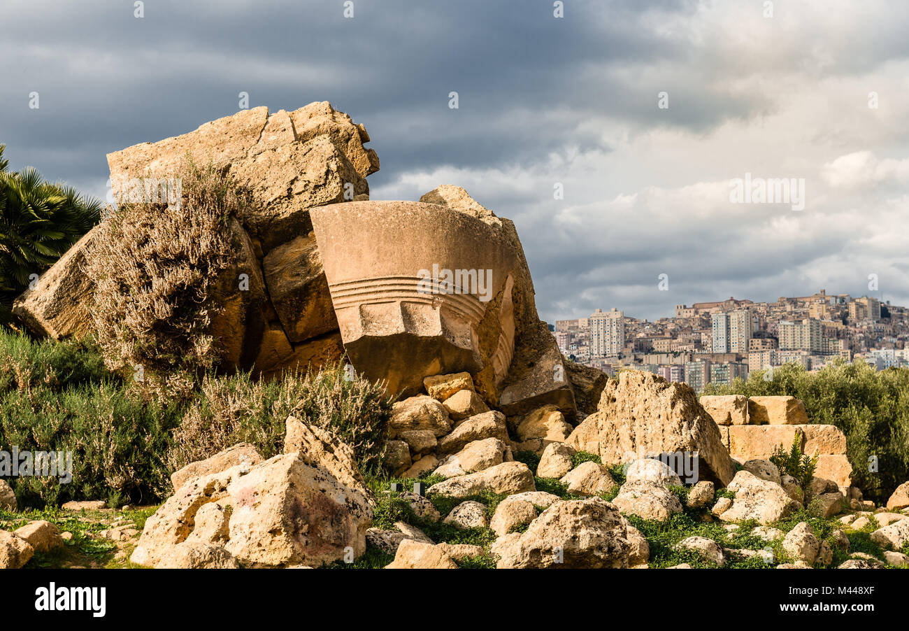 The temple of Olympian Zeus, in the valley of the Temples, in the ancient Acragas, Sicily, in Italy. The modern - Stock Image