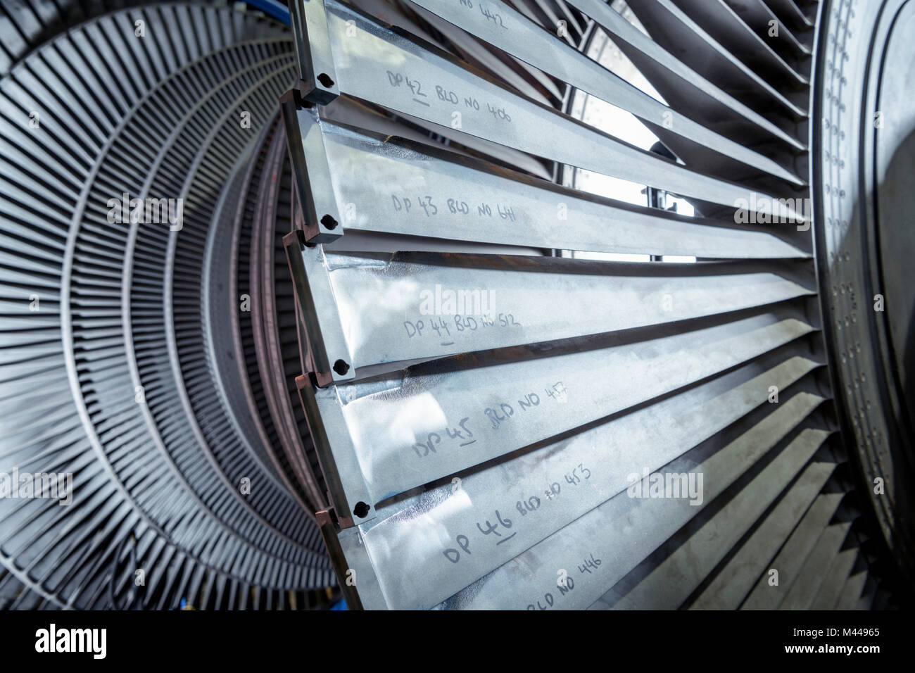 Detail of low pressure turbine in turbine maintenance factory - Stock Image