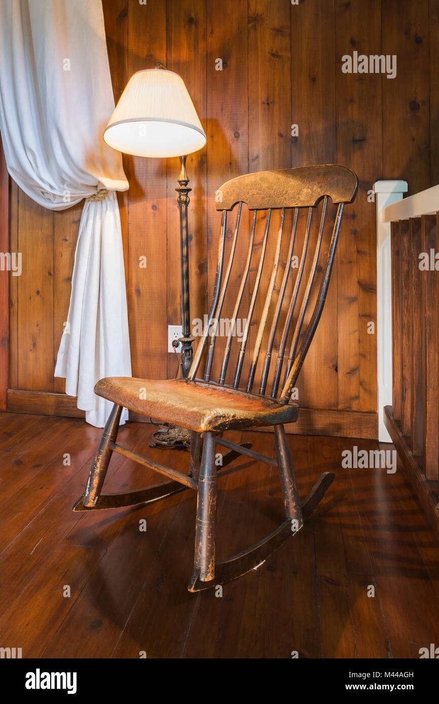 Picture of: Antique Wooden Rocking Chair And Lamp Inside A New Hampton Style Stock Photo Alamy