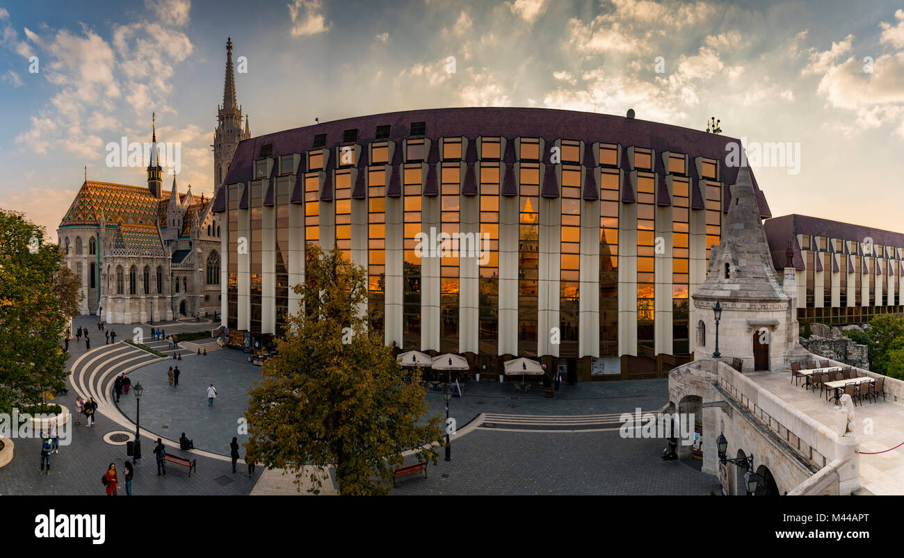 Modern facade of the Hilton Hotel with Mathias Church and Fisherman's Bastion,Budapest,Hungary Stock Photo
