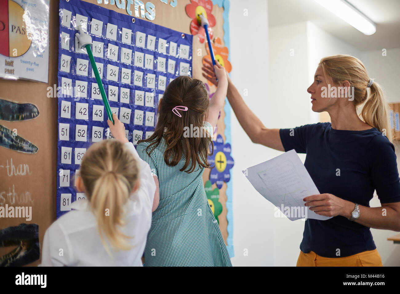 Teacher with schoolgirls pointing at number wall chart in classroom at primary school - Stock Image
