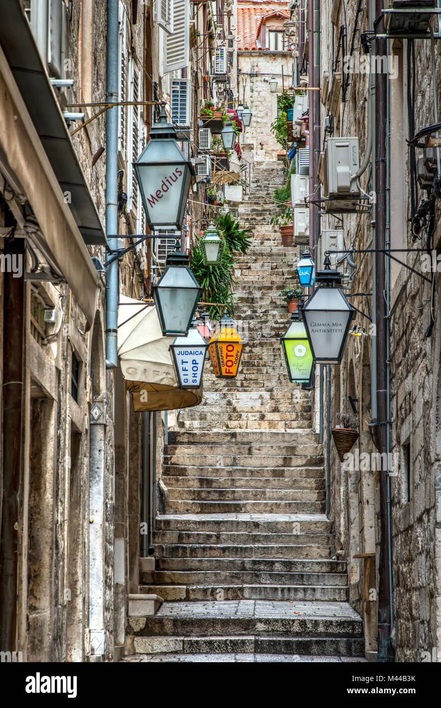Picturesque corner of the historical centre, Dubrovnik, Croatia - Stock Image