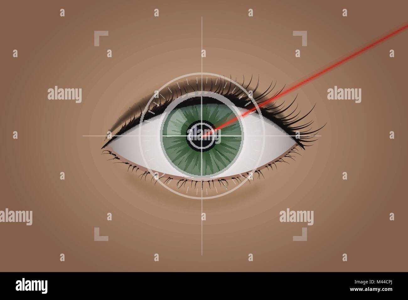 Vision correction by a laser beam. Stock Vector