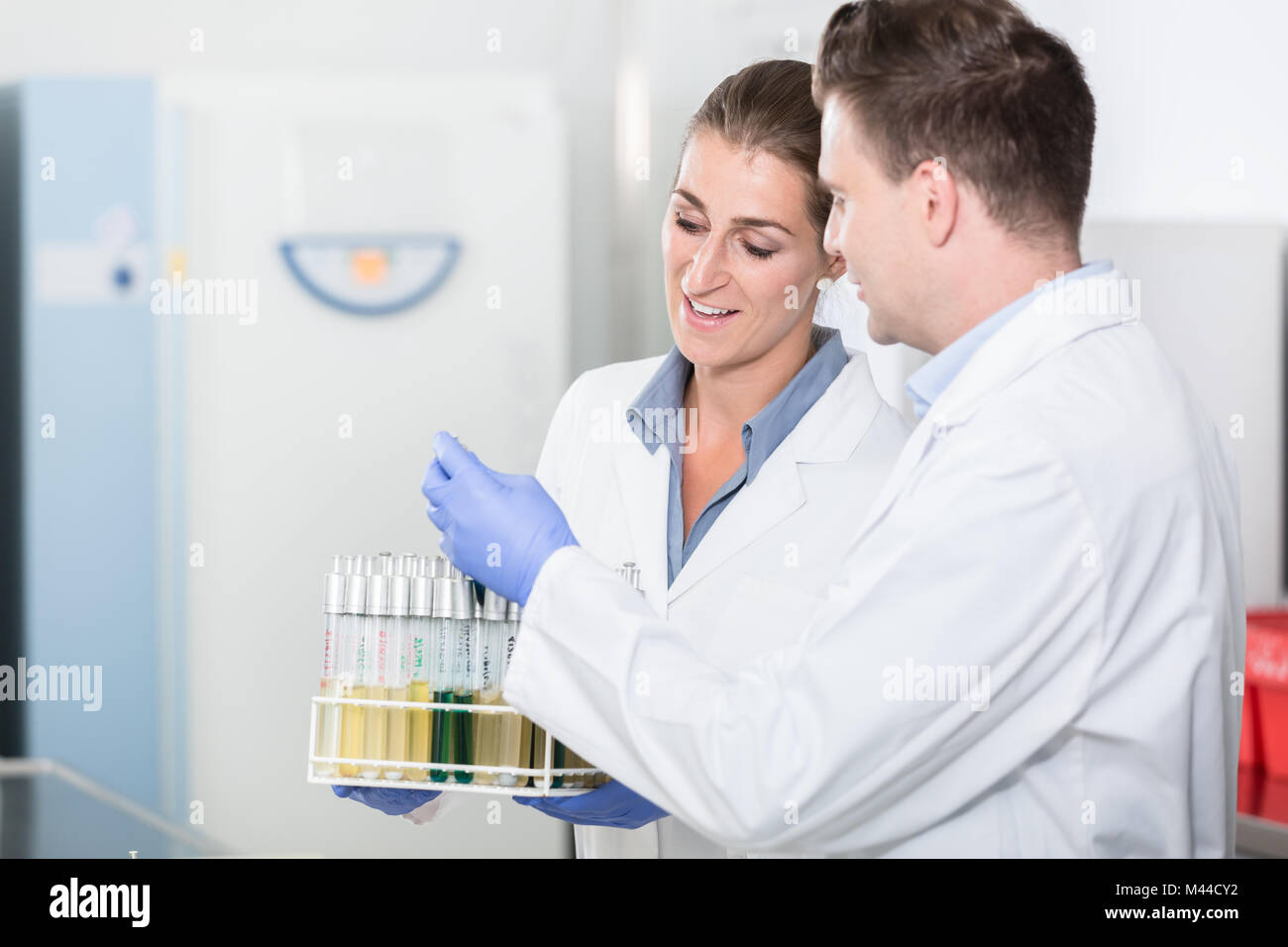 Lab assistants in research laboratory preparing samples for scie - Stock Image
