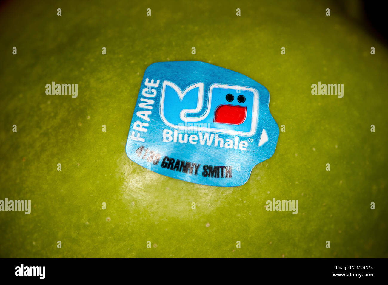 blue whale sticker on a green granny smith apple imported from france - Stock Image