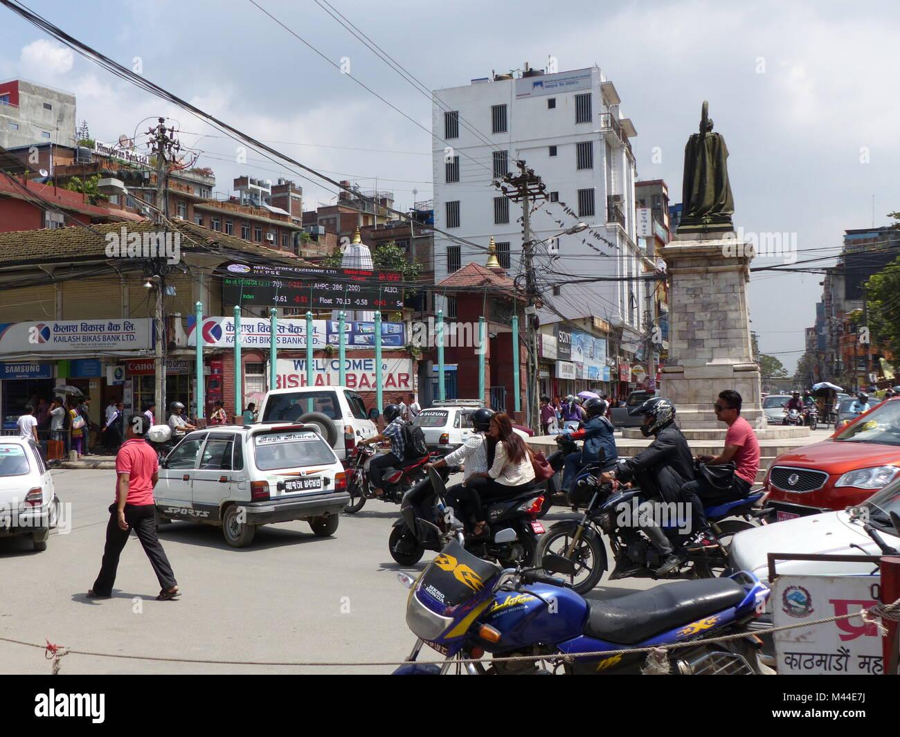 Durbar Square in Kathmandu, Nepal, september 4, 2015: Rush on the Kathmandu's Durbar Square - Stock Image