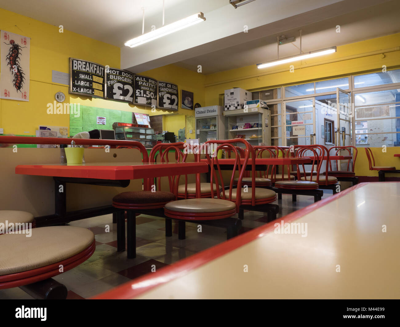 Cafe at Winchester Bus Station - Stock Image