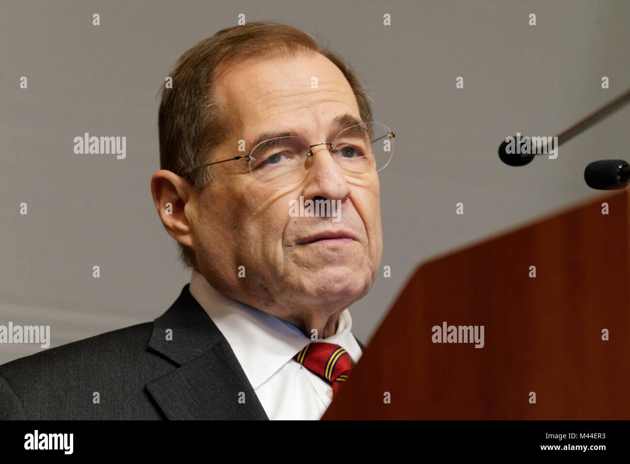 Rep. Jerrold Nadler (D-New York's 10th Congressional District) speaking at a Town Hall meeting on Feb. 12, 2018. - Stock Image