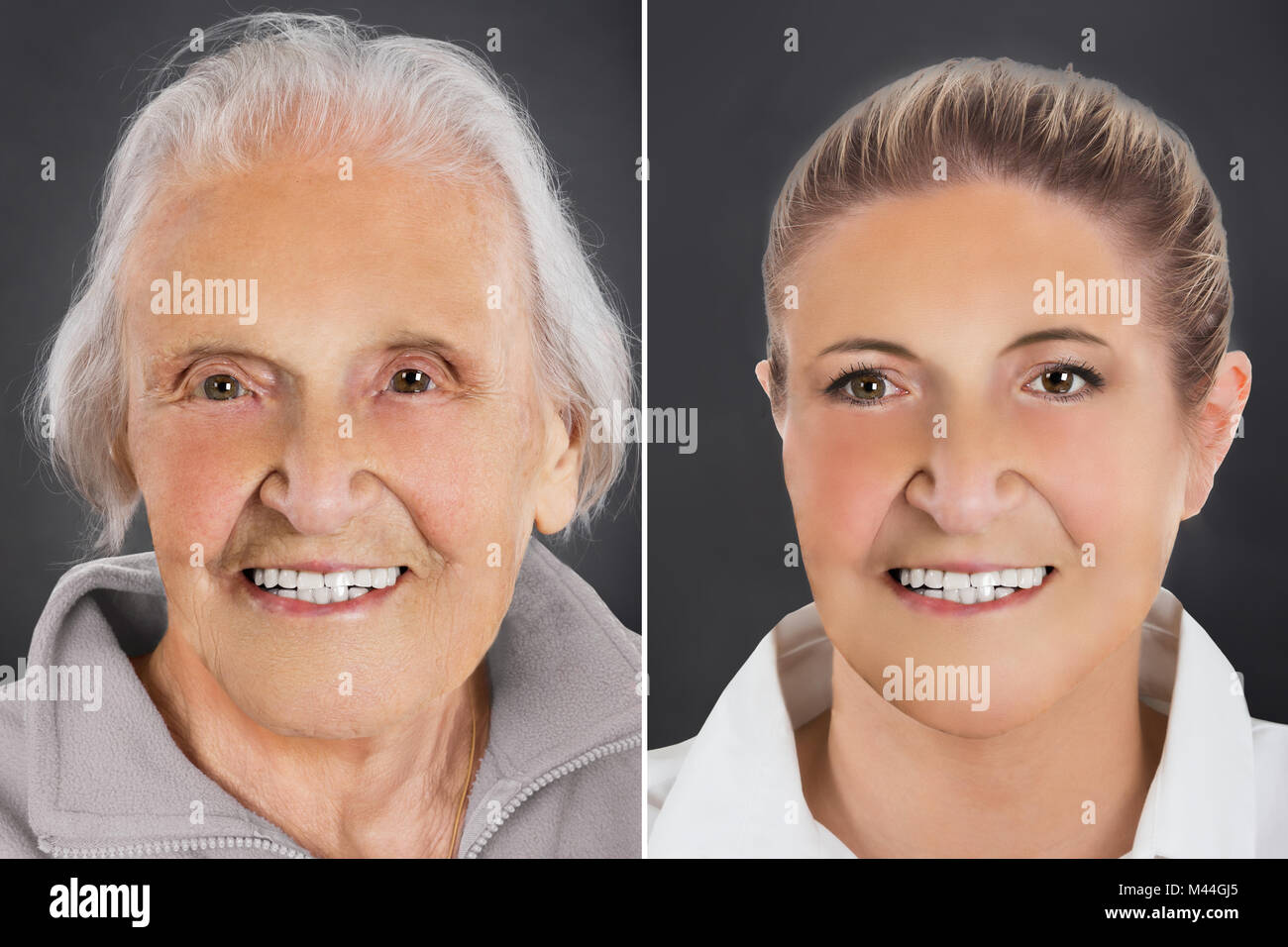 Multiple image showing ageing process of woman from young to senior over gray background - Stock Image