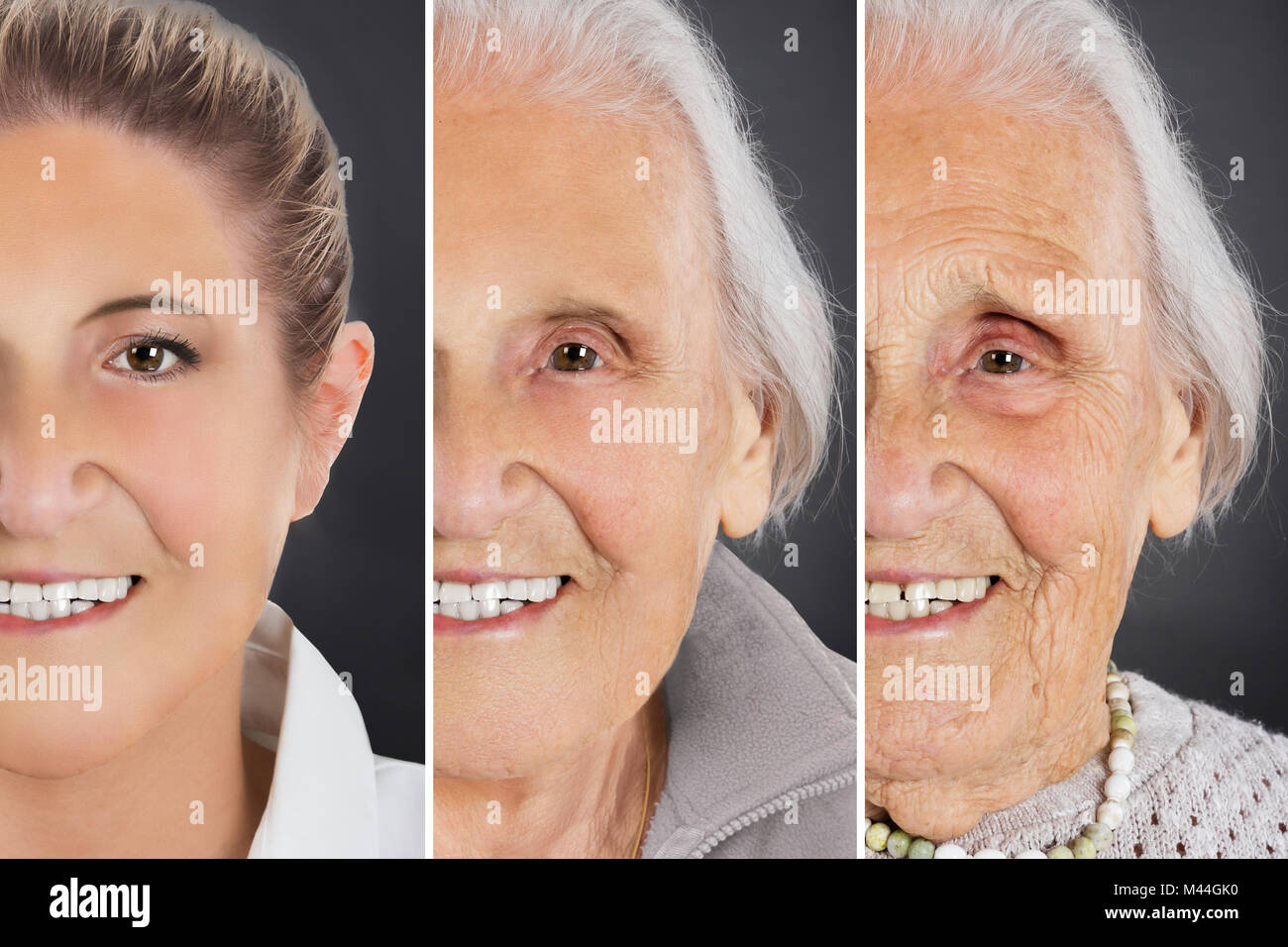 Multiple image showing ageing process of woman over gray background - Stock Image