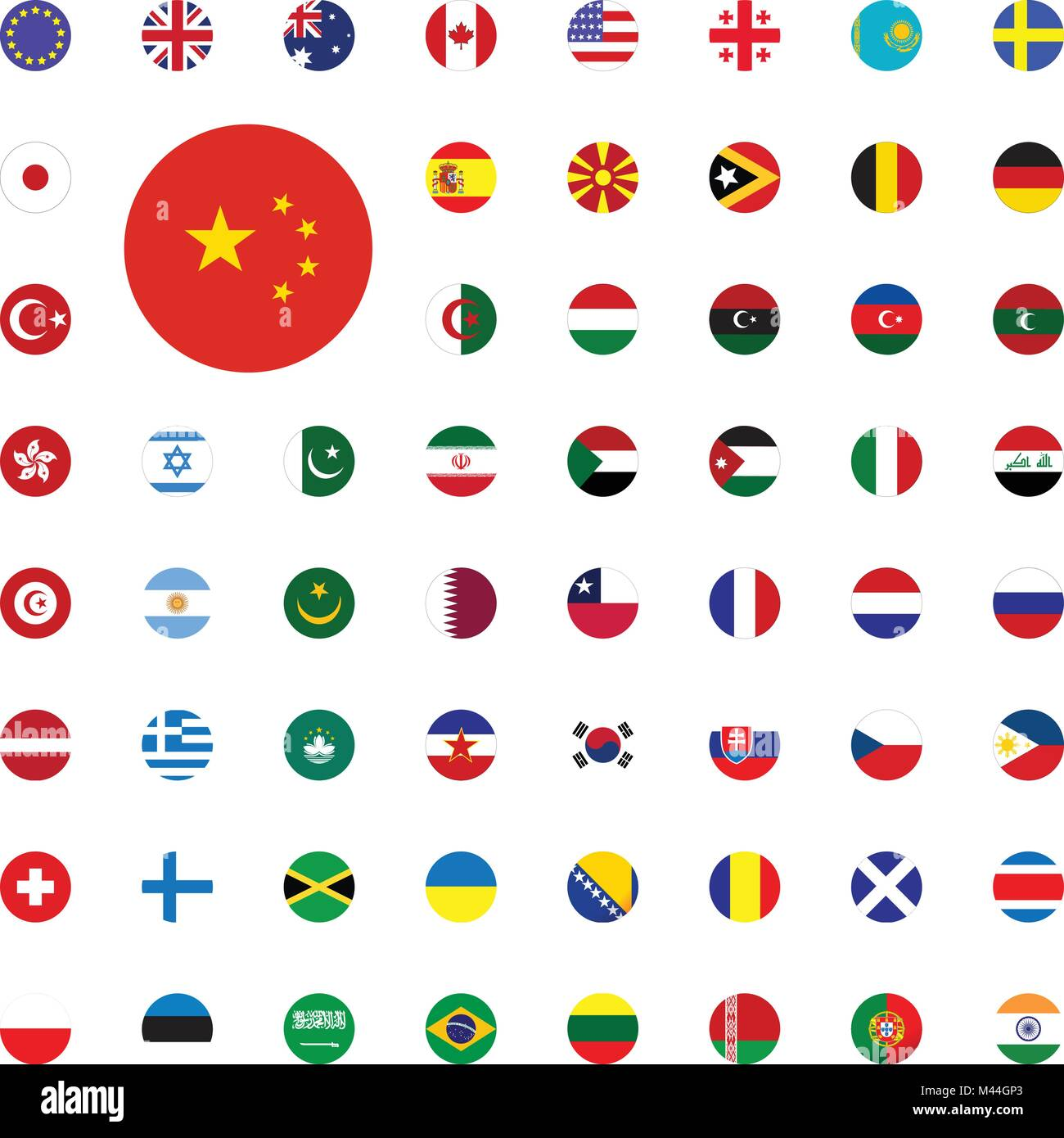 China Round Flag Icon Round World Flags Vector Illustration Icons Stock Vector Image Art Alamy