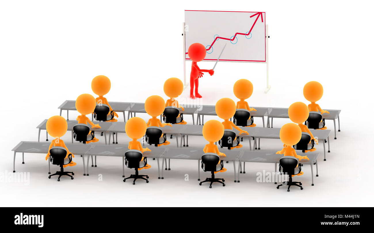 Gold 3d men on a lecture, business meeting etc. - Stock Image