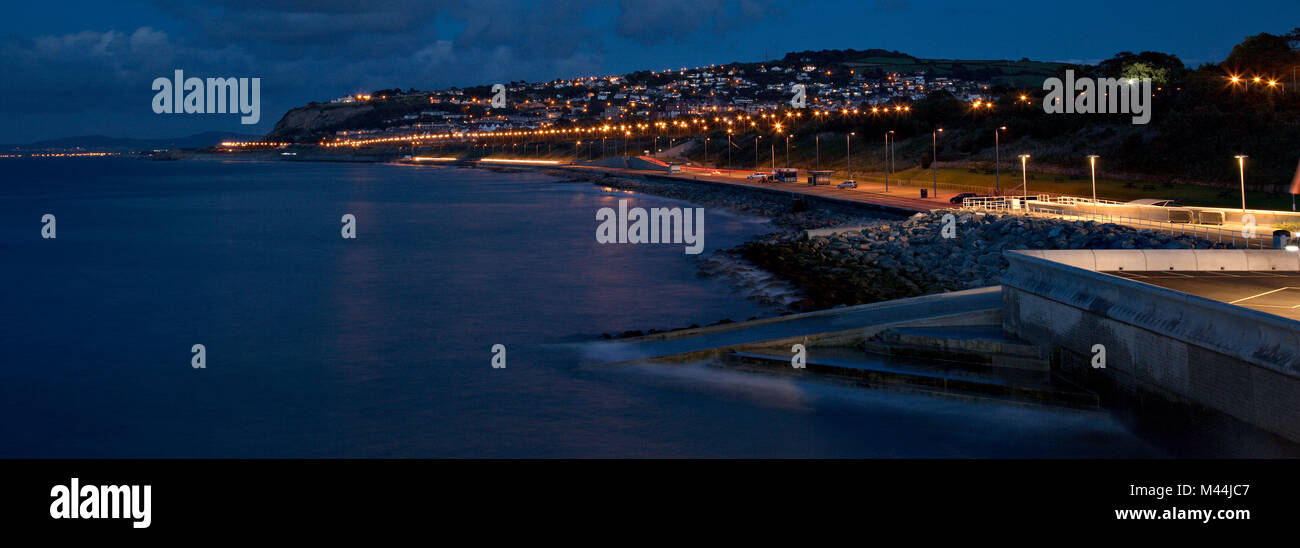 Colwyn Bay at night, North Wales coast - Stock Image