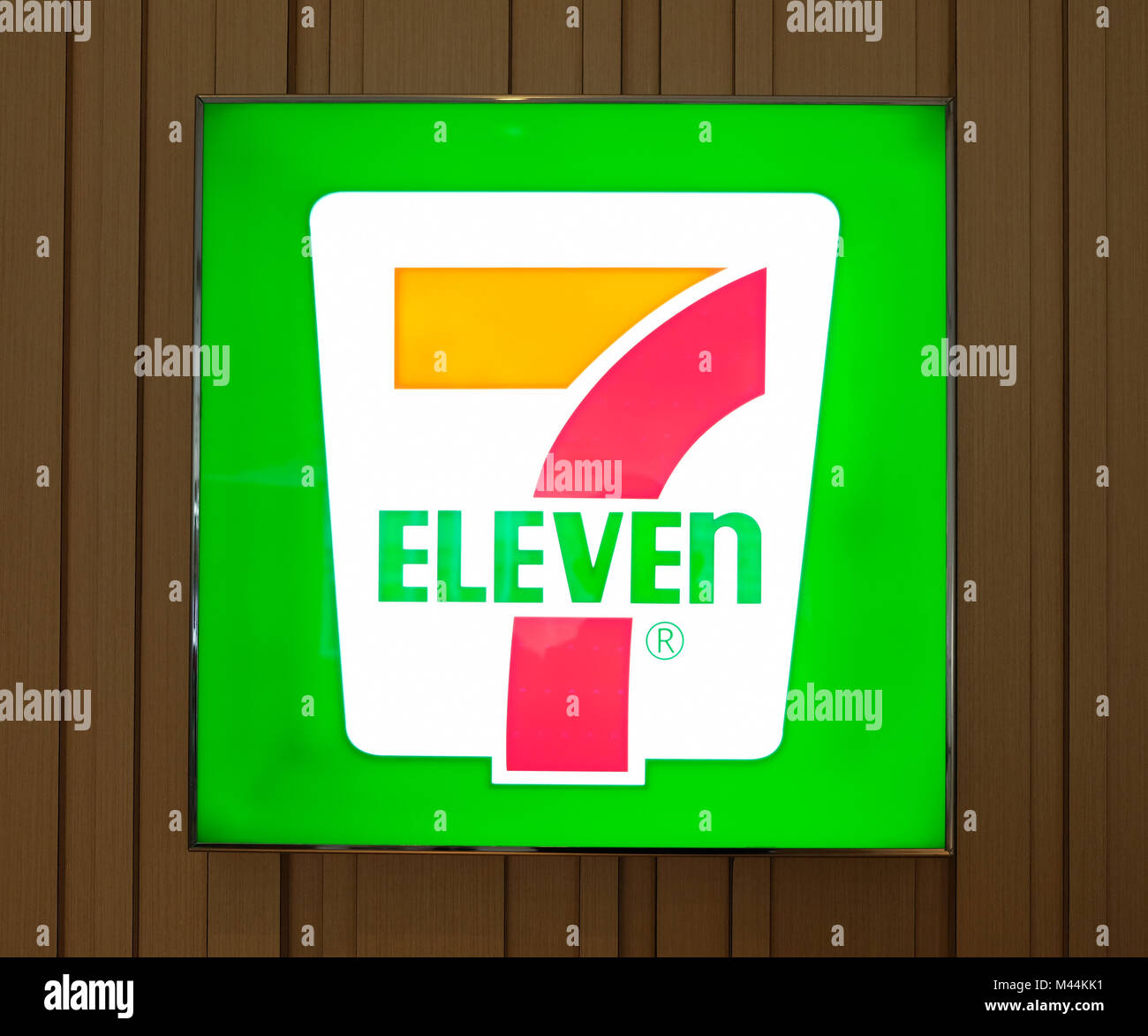 Hong Kong - February 11, 2018: 7-Eleven shop in Hong Kong. 7-Eleven or 7-11 is an international chain of convenience Stock Photo
