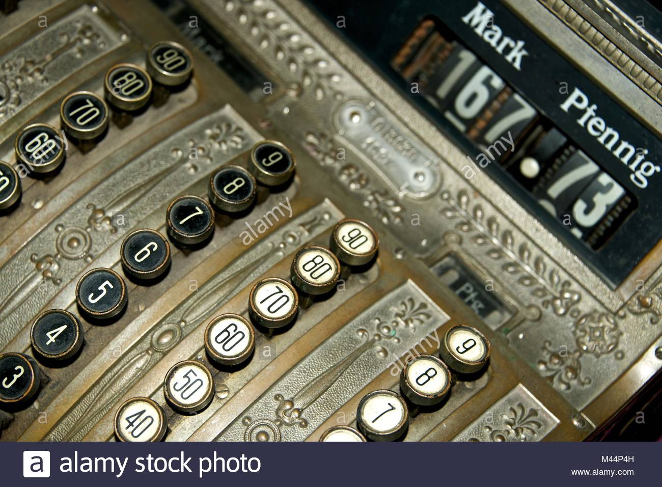 Angled view of old German cash register - Stock Image