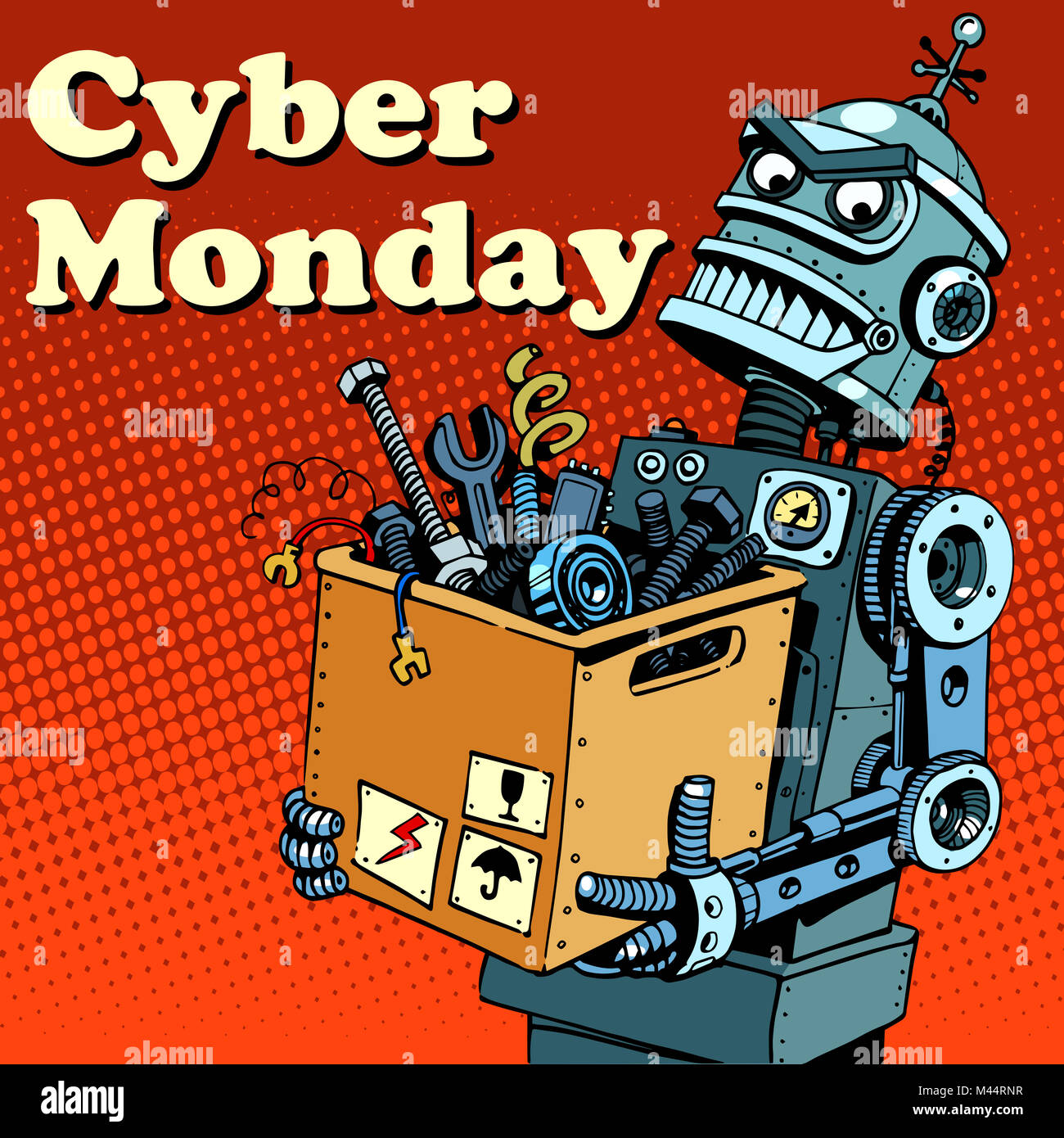 Robot Cyber Monday gadgets and electronics - Stock Image