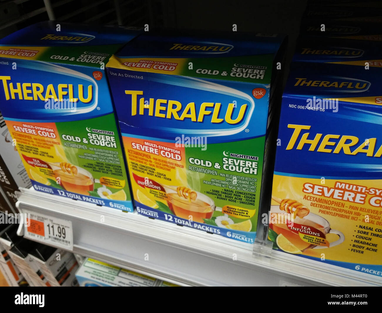 Packges of Theraflu symptomatic relief on a drugstore shelf in New York on Thursday, February 8, 2018. The Centers - Stock Image