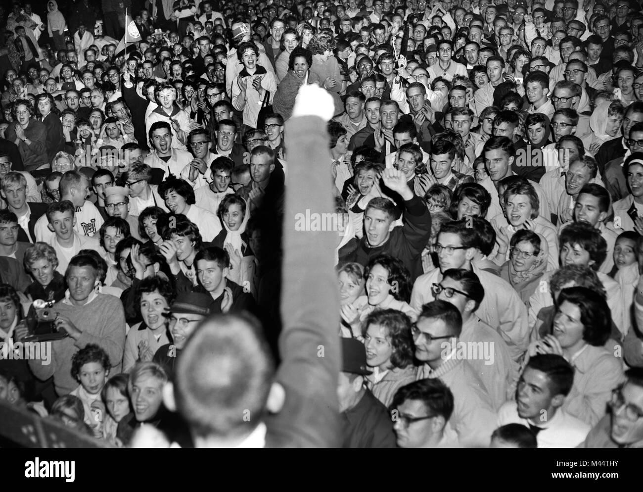 Football game pep rally at Northwestern University, ca. 1962. - Stock Image