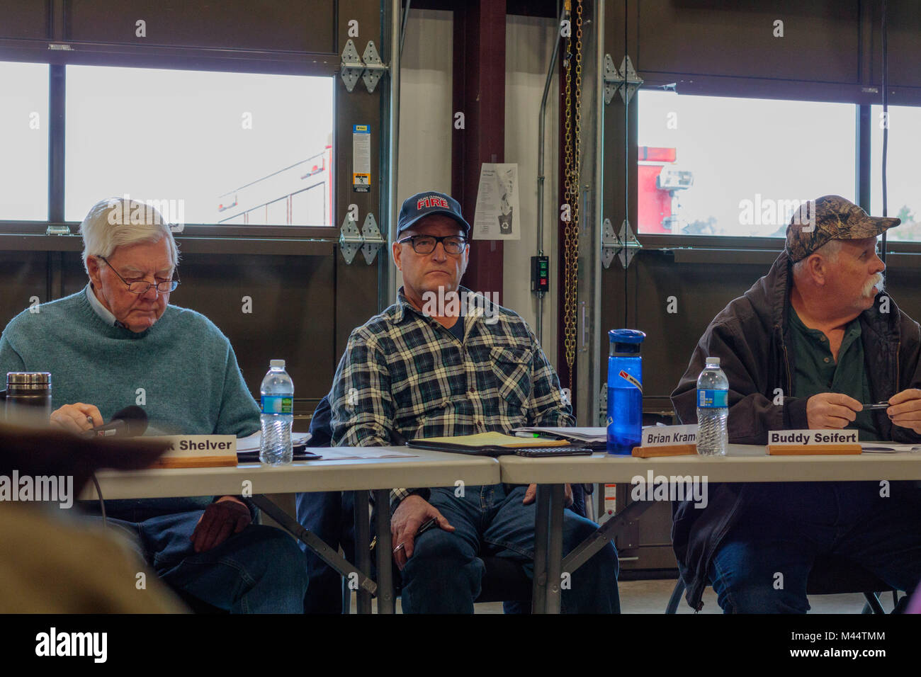Contentious meeting on 02-13-2018 in small rural town of Julian in San Diego county, Julian Volunteer Fire Department - Stock Image