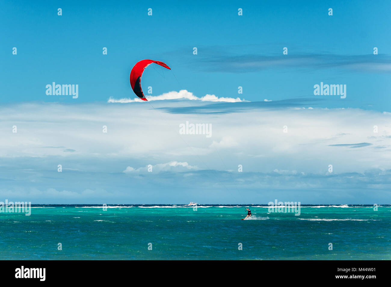 kite surfing. Extreme sport, active, healthy lifestyle concept. Bulabog beach, Boracay, Philippines - Stock Image