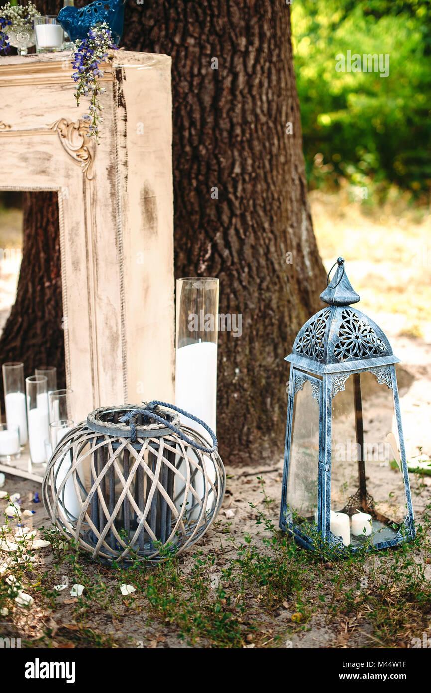 Wedding Decor Part Of Ceremony Under Big Oak Tree Decoration With Fireplace Candle Candlesticks Vintage Lanterns