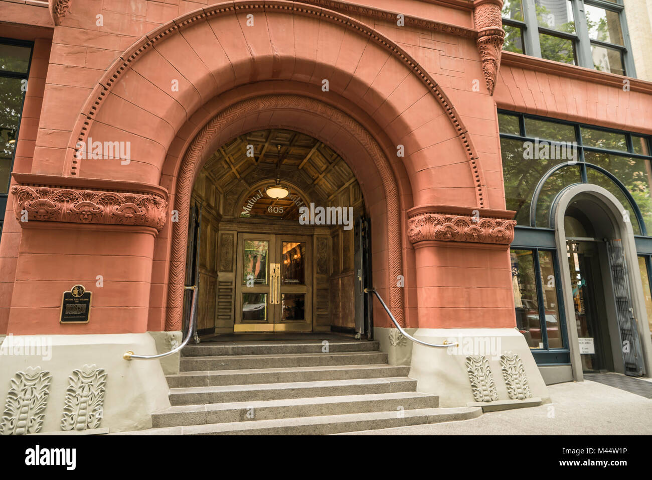 United States, Washington, Seattle, Pioneer Square, Mutual Life Building, Romanesque Revival architecture - Stock Image