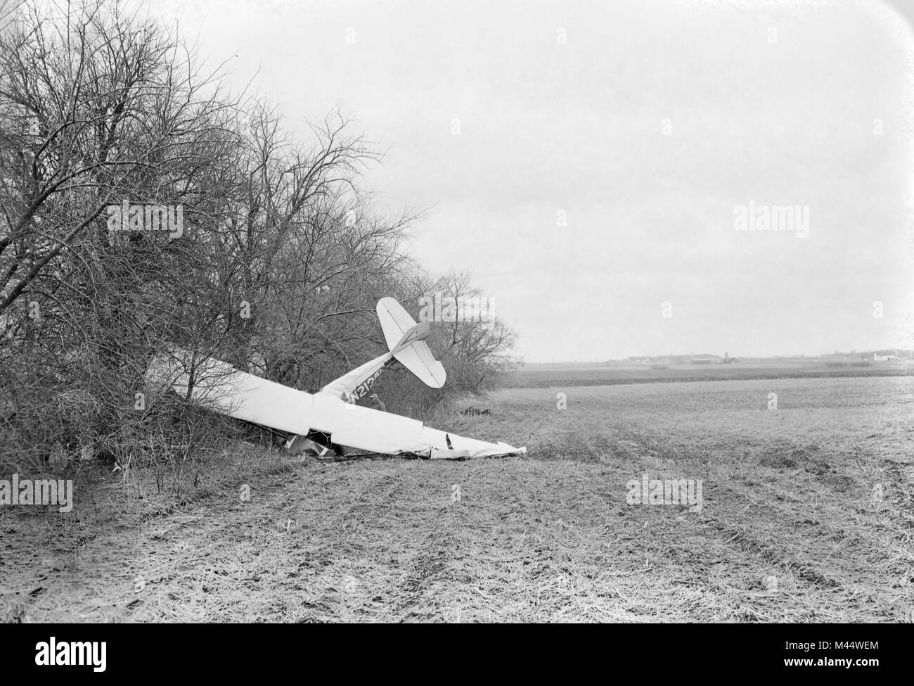 A single engine airplane is nestled up against a tree line after a crash in an Illinois farm field, ca. - Stock Image