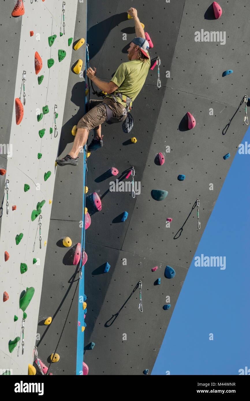 United States, Washington, Seattle, Ballard, Man on climbing wall - Stock Image