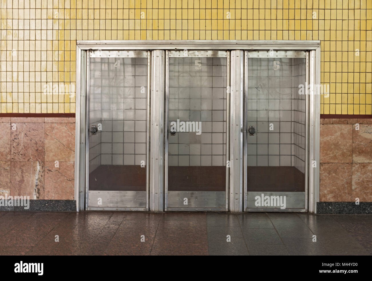 three doors in subway station Arsenalna, Kiev, Ukraine - Stock Image