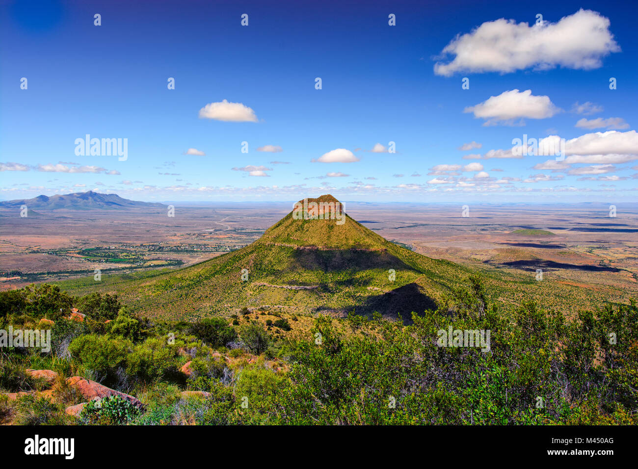 Colorful panorama view of a bizarre landmark mountain in the Valley of Desolation, Graaff Reinet,Karoo,Camdeboo,South - Stock Image