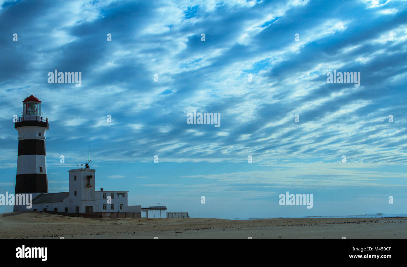 Port Elizabeth, South Africa - the historic Cape Recife Lighthouse outside the city, image in landscape format with - Stock Image