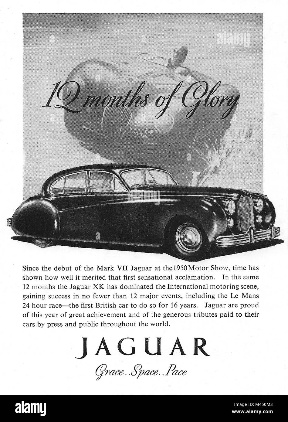 Jaguar '12 months of glory' car advert, advertising in Country Life magazine UK 1951 - Stock Image