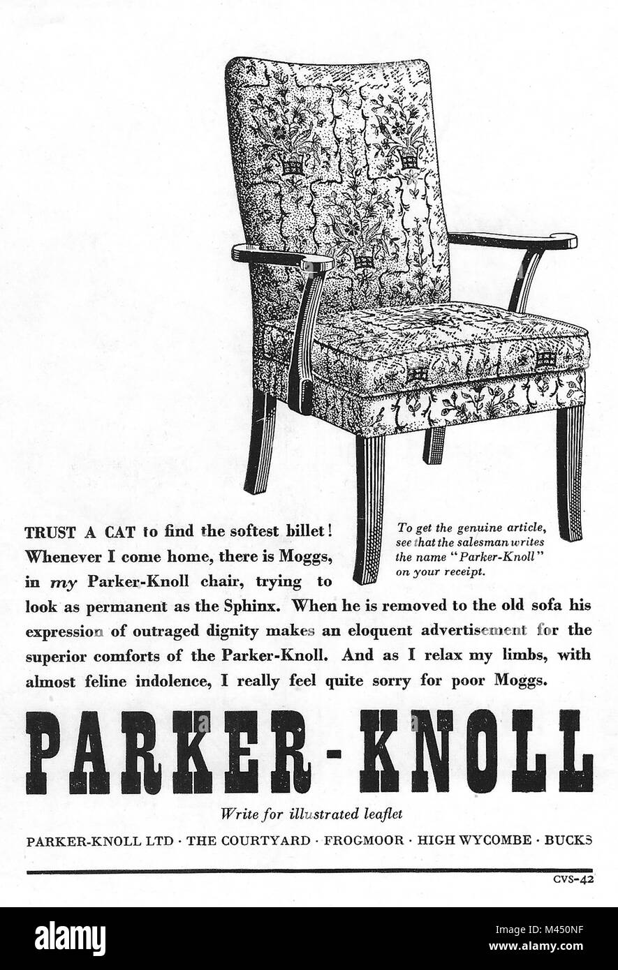 Parker - Knoll chair furniture advert, advertising in Country Life magazine UK 1951 - Stock Image