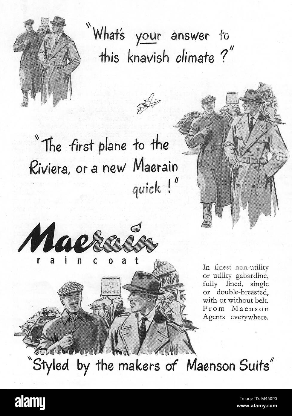 Maenson Maerain raincoat coat advert, advertising in Country Life magazine UK 1951 - Stock Image