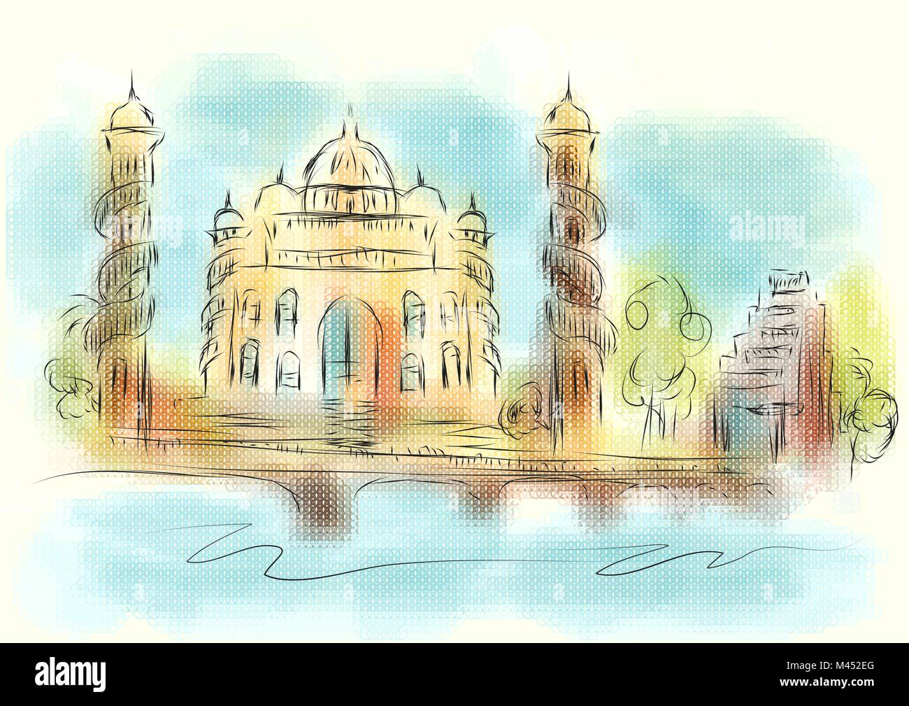 Ahmedabad city. abstract illustration on multicolor background - Stock Vector