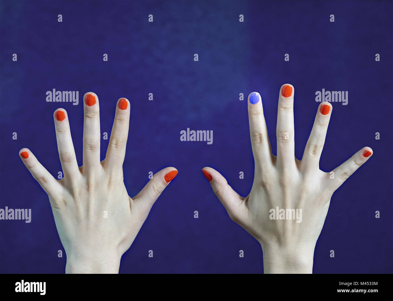 One Different Nail Color In Finger Caucasian Hands Red And Blue Painted Fingernails Stand Out From The Crowd Originality Creativity Concept