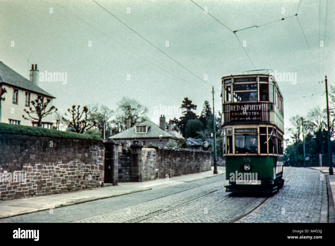 Dundee Double Decker Tram on route to Ninewells and Uniformed Services University circa 1950s - Stock Image
