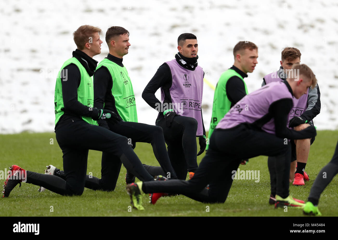 Celtic's Tom Rogic (centre) warms up during the training session at Lennoxtown, Glasgow. - Stock Image