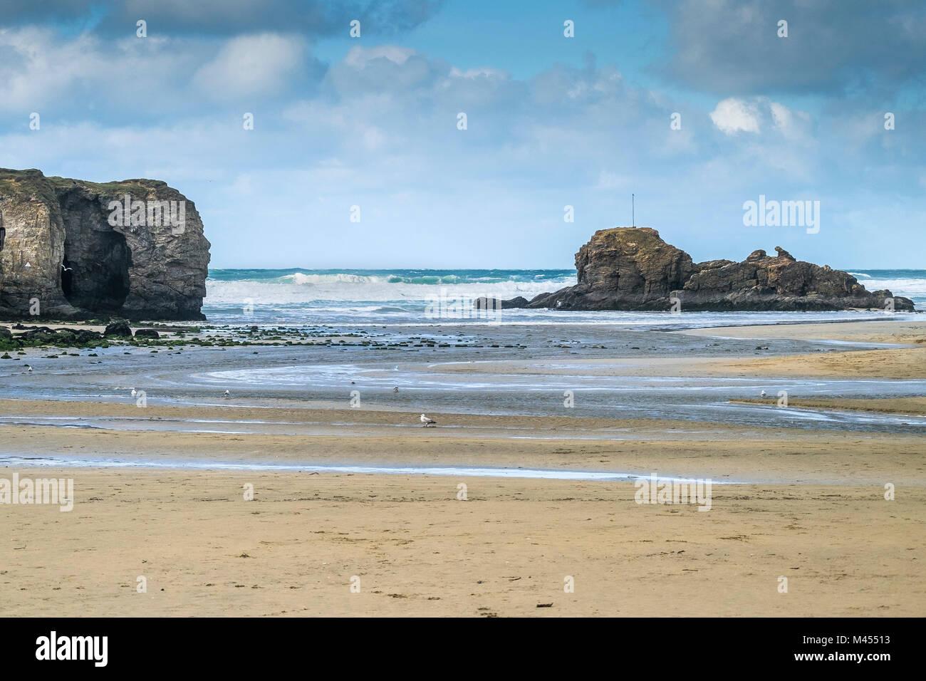 Perranporth Beach Chapel Rock Cornwall UK. Stock Photo