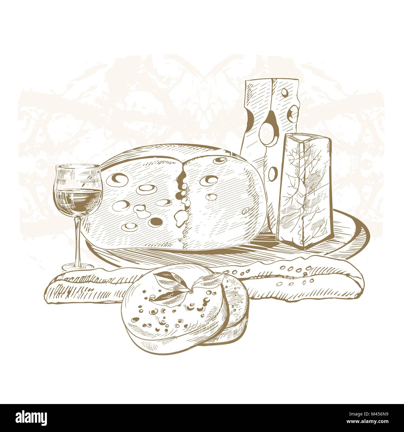 Creative conceptual vector. Sketch hand drawn cheese illustration, engraving, ink, line art, vector. - Stock Image